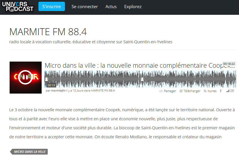 Coopek : Interview de Renato Modiano sur Marmite FM