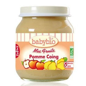 Babybio : Mes Fruits, Pomme Coing ( dès  4 mois ) 130g